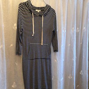 Hooded Active Striped Dress Front Pocket